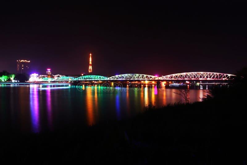 Trang Tien bridge by night stock images