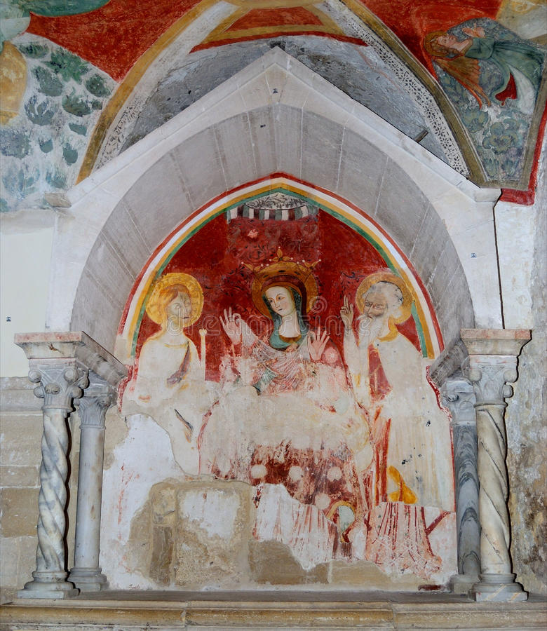 Free Trani Cathedral: Fresco In The Crypt Of St. Mary Stock Photography - 25432612