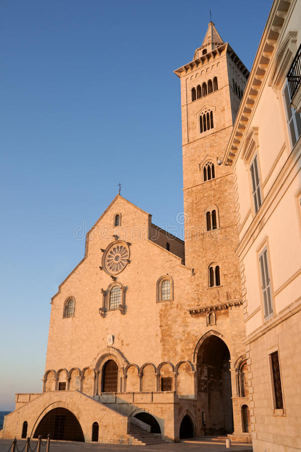 Trani Cathedral in the sunset light stock images