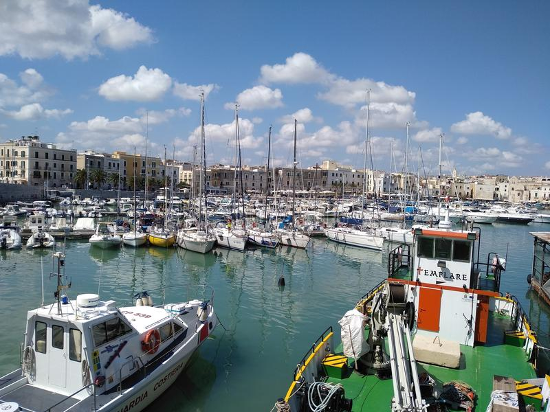 Trani port boat yatch stock photos