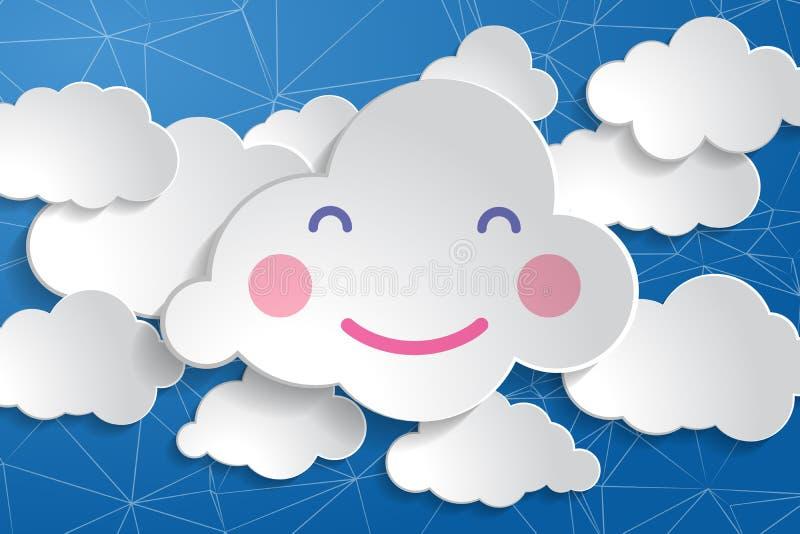 tranquil babydouche illustratie van vrolijke glimlach - wolk wit papier wolk op de blauwe achtergrond van het draadnetwerk royalty-vrije illustratie