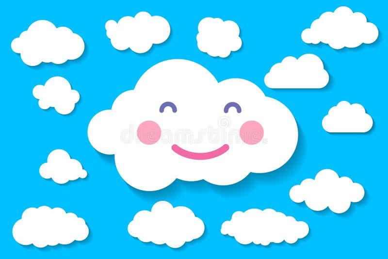 tranquil babydouche illustratie van vrolijke glimlach - wolk wit papier wolk op de blauwe achtergrond van het draadnetwerk vector illustratie