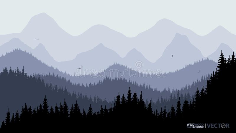 Tranquil backdrop, pine forests, mountains in the background. Dark blue tones. Flying birds vector illustration