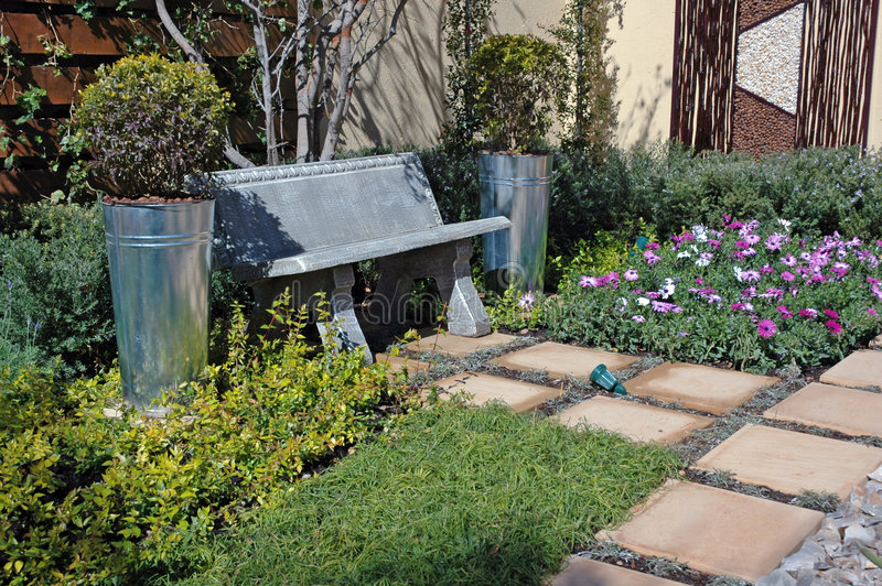 Download Tranquil Garden Scene. stock image. Image of bench, garden - 1059263