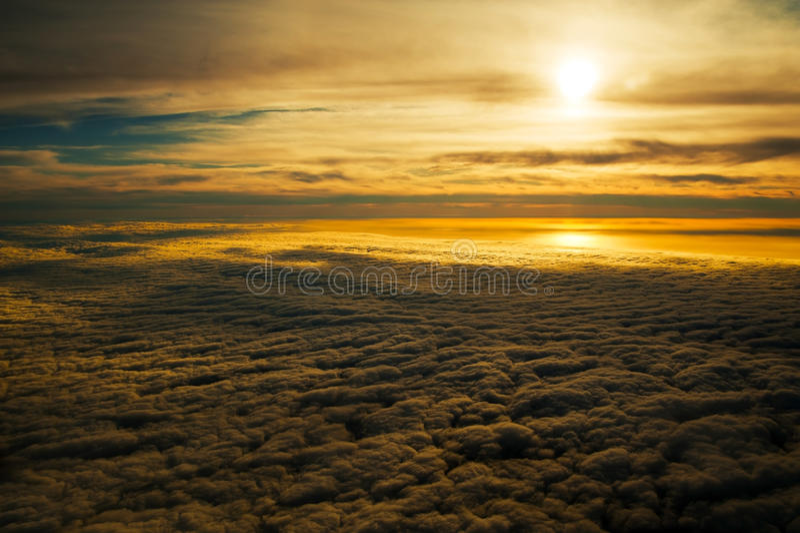 Tranquil Golden Sunset. Taken whilst flying over the Falkland Islands stock photo