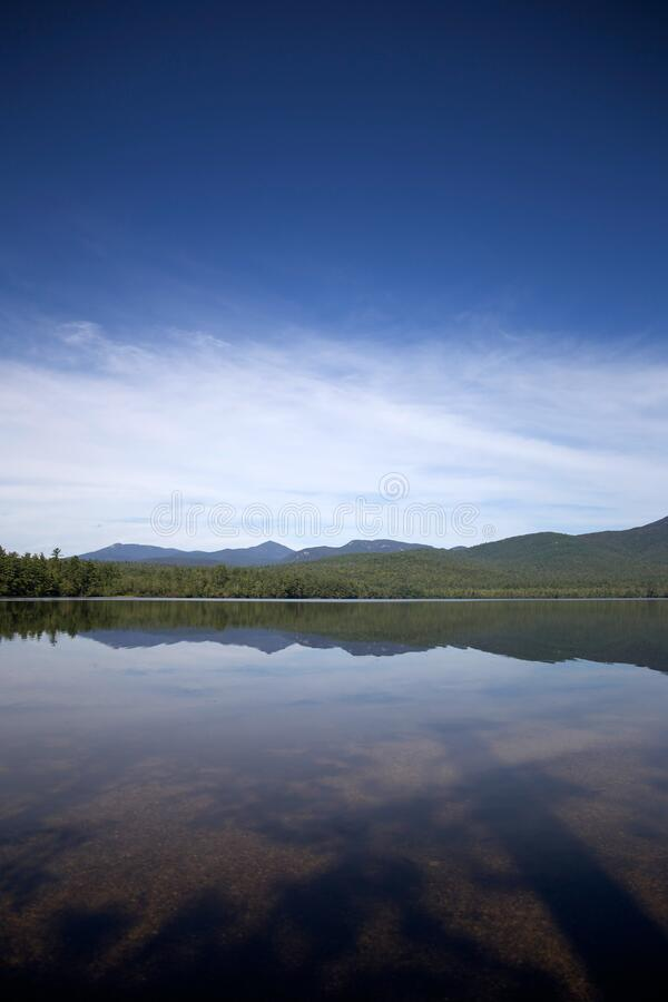 Tranquil lake and distant hills royalty free stock image