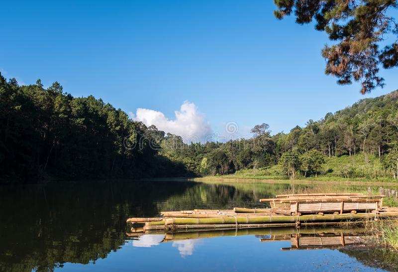 Tranquil lake with the wooden raft stock photos