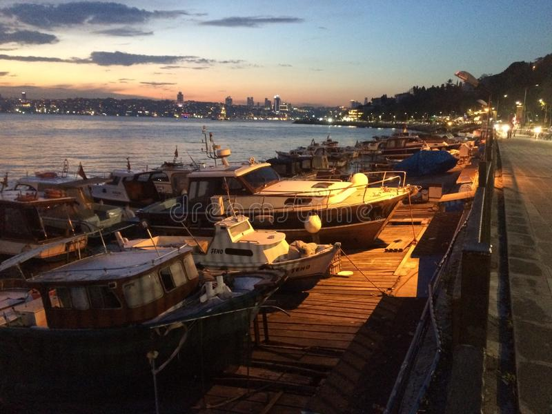 Tranquil marina in the Bosphorus stock images