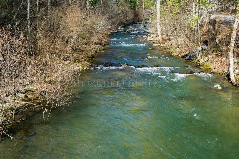 A Tranquil Mountain Trout Stream in the Blue Ridge Mountains. A tranquil mountain trout stream located in the Blue Ridge Mountains of Botetourt County, Virginia royalty free stock photos