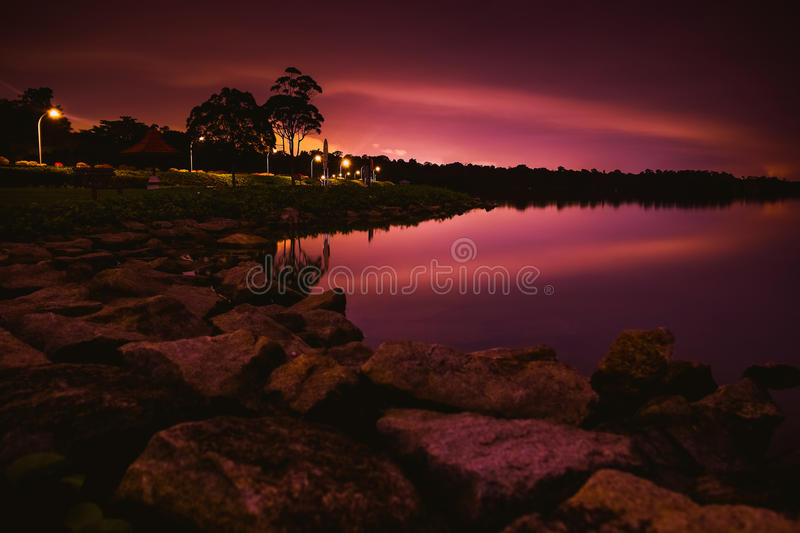 Tranquil night by the reservoir. Photography Location: Upper Seletar Reservoir, Singapore royalty free stock image