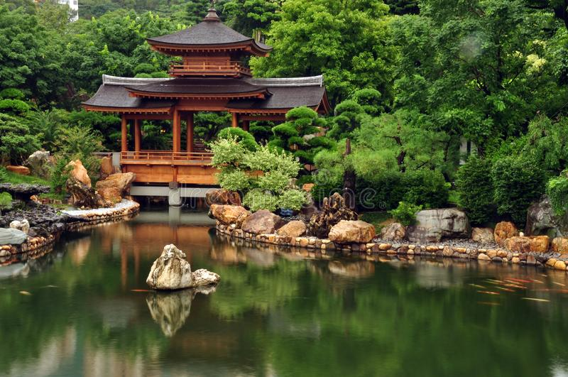 Tranquil oriental garden with pond, Zen view of calm green pond water with oriental house and rocks on shore, Hong Kong, Nan Lian stock photo