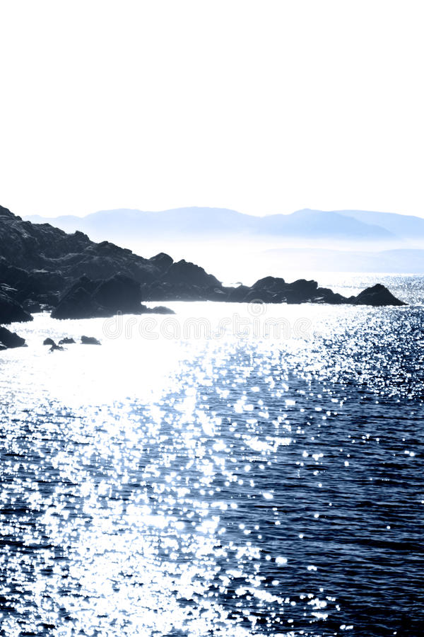 Tranquil rocky kerry blue view stock images