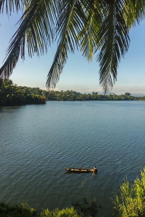Tranquil scence at Kaptai Lake in Bangladesh stock photography