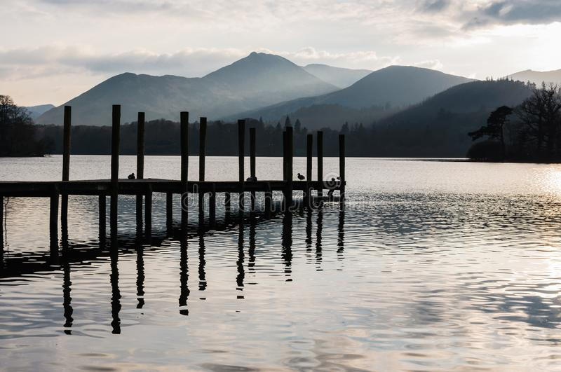 Jetty in Lake District Cumbria. Tranquil scene in Lake District Cumbria: Jetty by the lake and mountains in the background royalty free stock photos