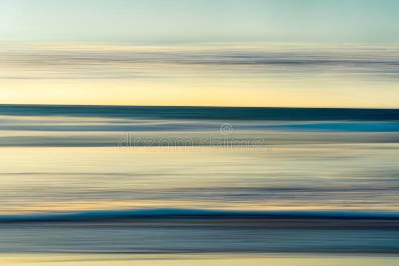 Tranquil Scene, Ocean Sunset Abstract Background, Cyan and Yellow Colors,Horizon Over Water,. Ocean Sunset Abstract Background, Cyan and Yellow Colors, Long royalty free stock photos