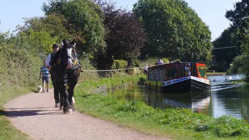 Editorial only. Horse Drawn Barge on The Grand Western Canal Tiverton in England royalty free stock image