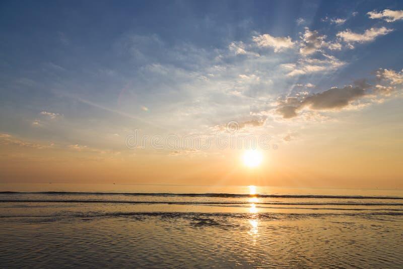 Tranquil sunrise in Hua Hin beach, Thailand royalty free stock photos