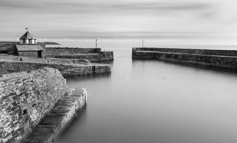 Tranquil Water, Charlestown Harbour, Cornwall. Tranquil and serene water, at the historic Charlestown Harbour, south Cornwall. Captured in black and white stock photos