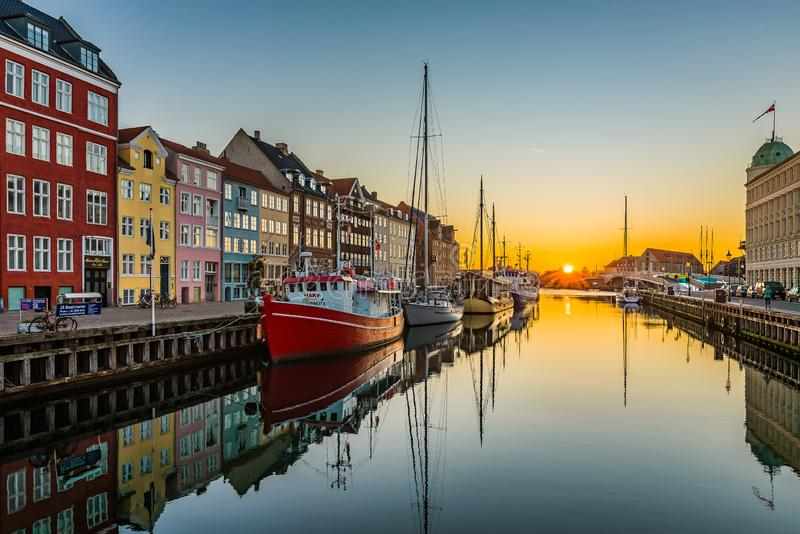 The tranquil water of Nyhavn an early morning royalty free stock photography