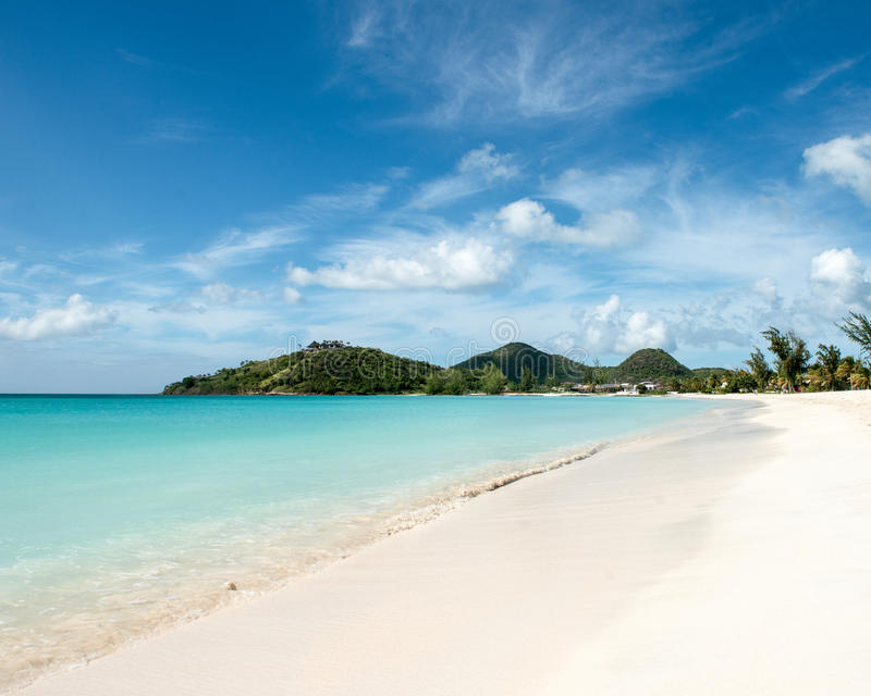 Tranquility Bay in Antigua. Tropical beach with white sand at Tranquility Bay, Antigua island in Caribbean royalty free stock image