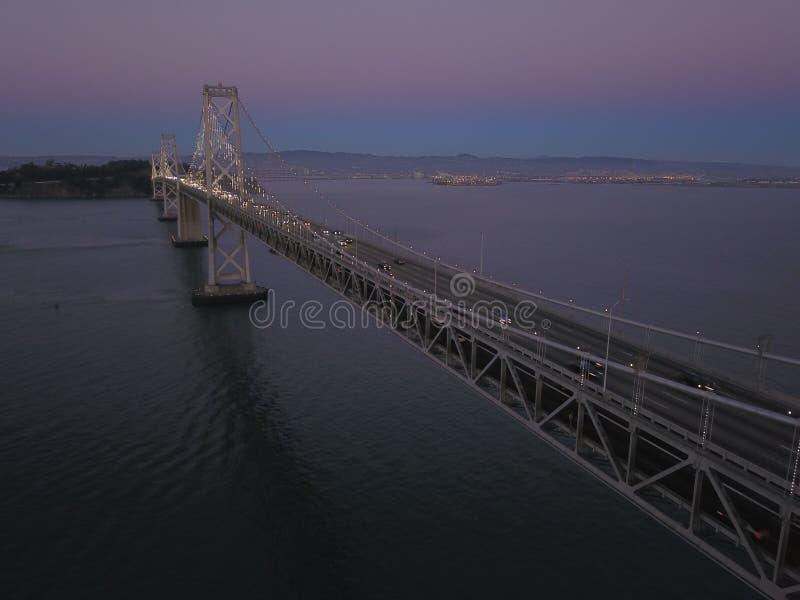 Tranquility. Bay Bridge from Oakland to San Francisco during sunset, shot with DJI Mavic Pro, also used Polar Pro ND16 polarizer royalty free stock photography