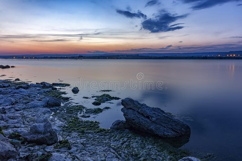 Sea after sunset royalty free stock images
