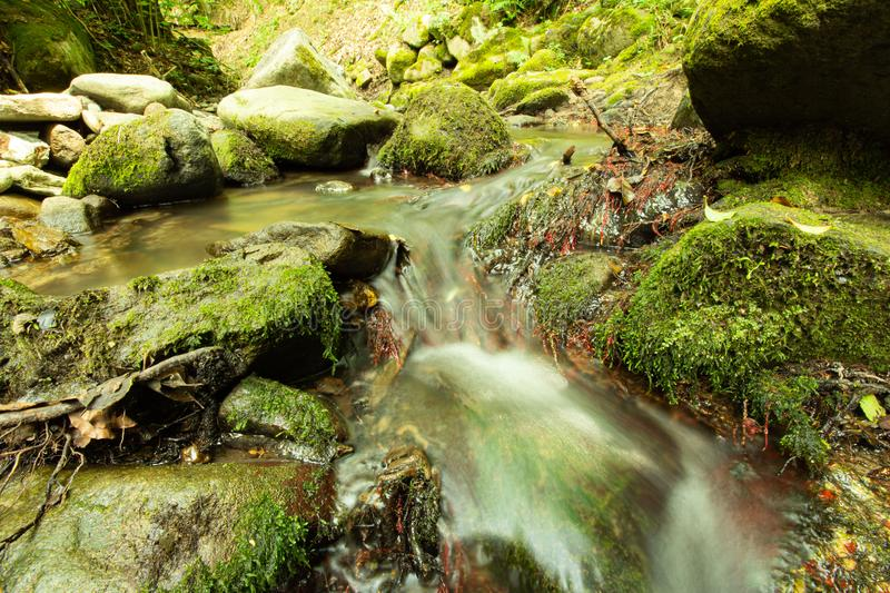 Tranquility river water in the mountain forest. Tranquility river water flowing gently and peacefully in the mountain green forest with big rocks royalty free stock photos