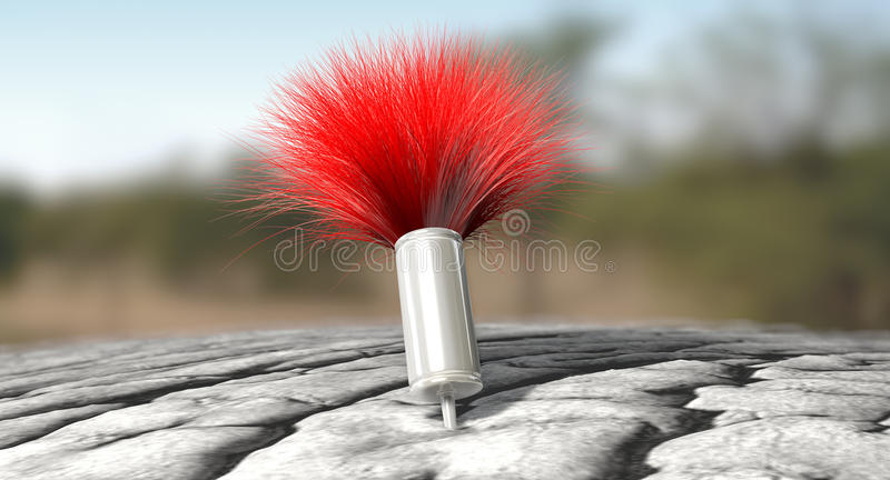 Tranquilizer Dart In Elephant Skin. A regular metal tranquilizer dart with a red feathered tail penetrated into an elephant like skin on an outdoor background royalty free stock photos