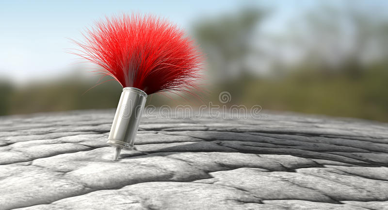 Tranquilizer Dart In Elephant Skin. A regular metal tranquilizer dart with a red feathered tail penetrated into an elephant like skin on an outdoor background stock image
