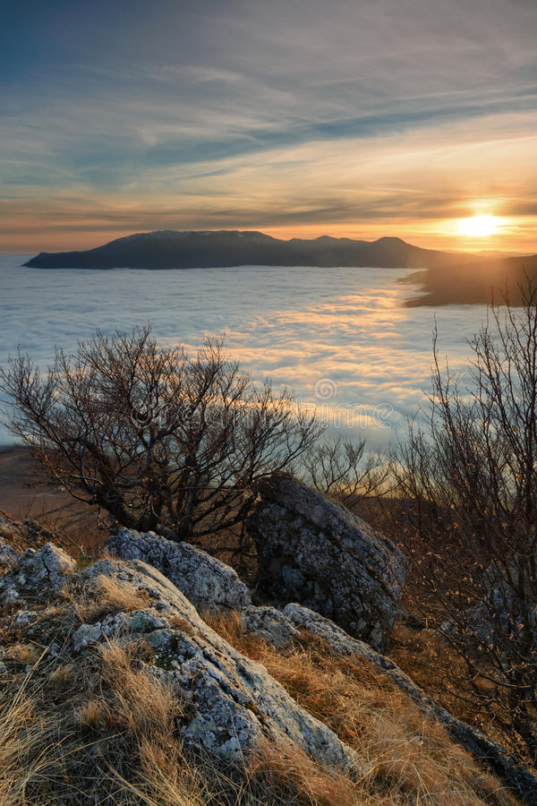 Tranquillity. Evening on top of the southern Demerji, Crimea stock images