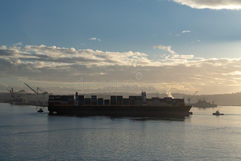 Trans大西洋离开的西雅图口岸 免版税库存图片