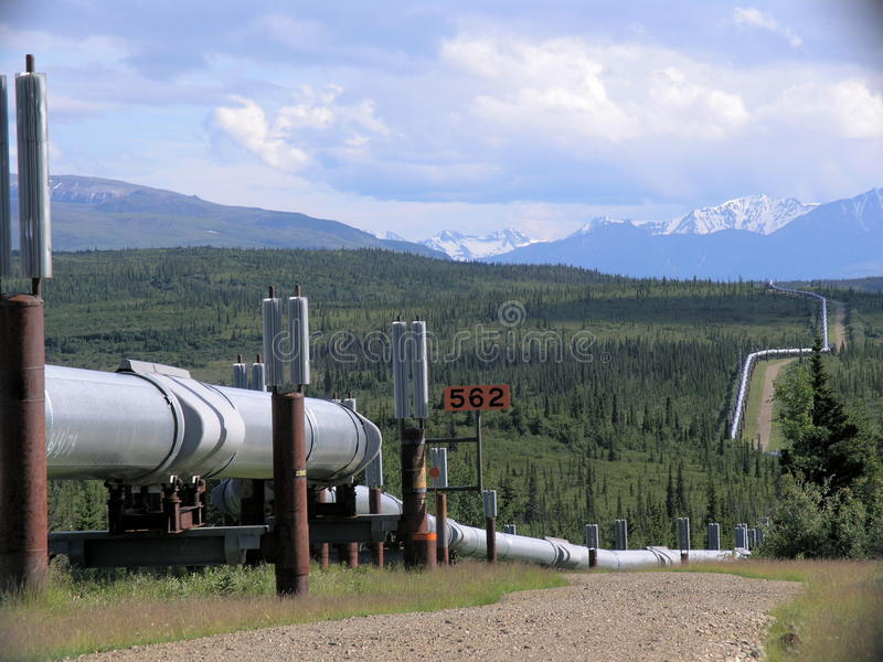 Trans-Alaska Pipeline. The Trans-Alaska oil pipeline, viewed from the Richardson Highway, Alaska royalty free stock images