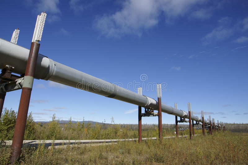 Trans-Alaska pipeline. Trans- Alaska pipeline near Dalton Highway royalty free stock photography