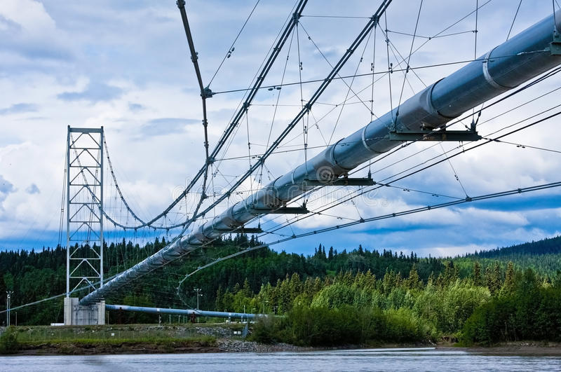 Trans-Alaska Pipeline. The Trans-Alaska Pipeline crosses the Tanana River in Big Delta royalty free stock images