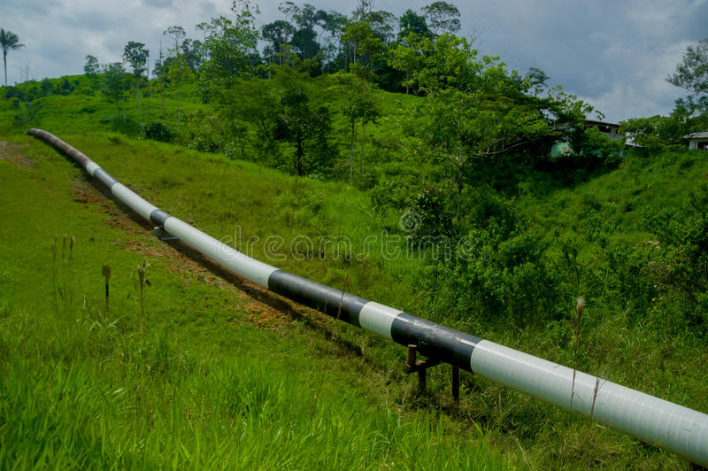 Trans-Andean oil pipeline, Ecuador, it links oilfields in the Amazon. The Trans-Andean oil pipeline on the western slope of the Andes, Ecuador. This pipeline royalty free stock images