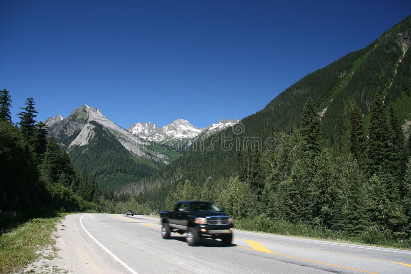 Trans-Canada Highway. Glacier National Park of Canada. Area near Rogers Pass (Selkirk Mountains). Trans-Canada Highway stock photos