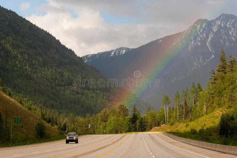 Trans-Canada highway. Car driving on Trans-Canada highway through Rockies in Alberta, Canada royalty free stock image