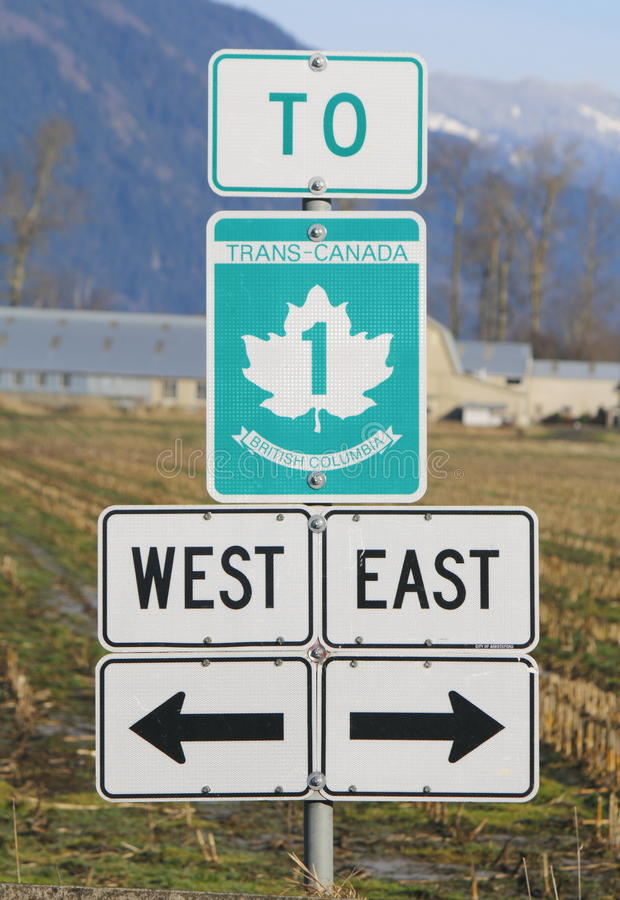 Trans Canada Sign. A sign indicates to motorists sections of the Trans Canada Highway, a national transportation route stretching coast to coast royalty free stock photo