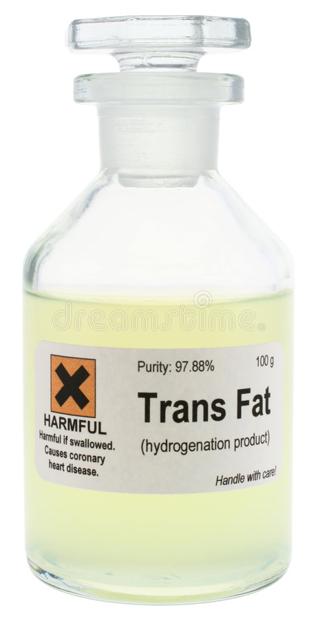 Trans Fat. Conceptual photo of trans fat, represented as a dangerous chemical. With clipping path. Trans fats are created by partial hydrogenation of plant oils stock photo