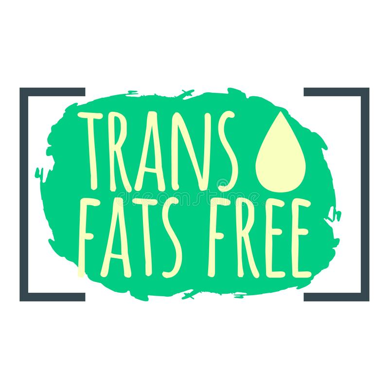Trans Fat Free label. Healthy and Organic Food. Font with Brush. Food Intolerance Symbols and Badges. Vector illustration icon.  vector illustration