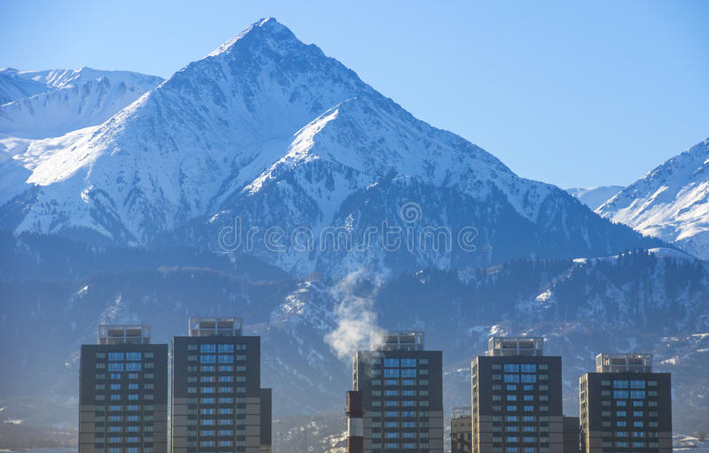 Trans-Ili Alatau Mountains. Kazakhstan. View from Almaty city stock image