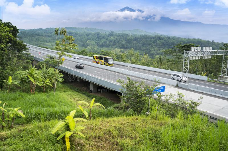 Trans-Java Toll Road bridge with mountain view stock image
