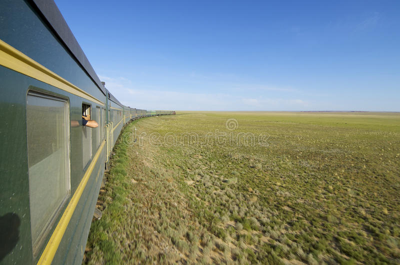 Trans Mongolian Train. Across the mongolian steppe, Mongolia royalty free stock photo