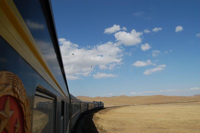 Trans Mongoolse spoorweg stock afbeelding