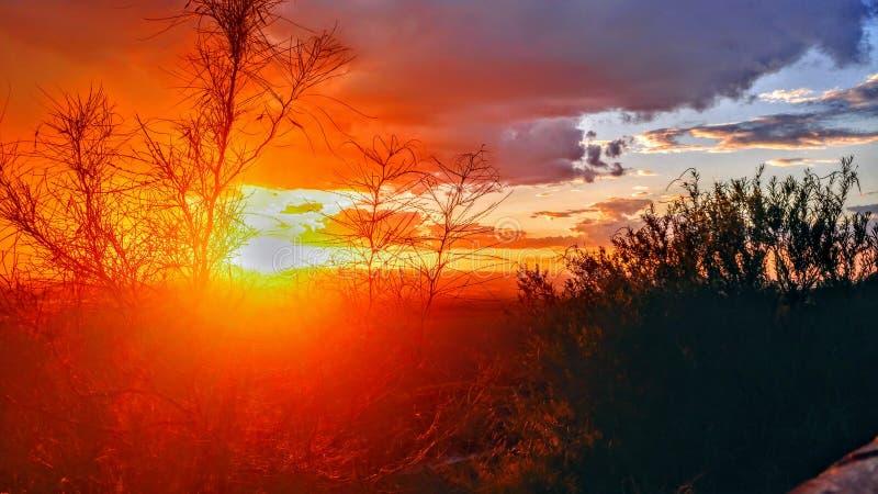Trans mountain sunset stock photo