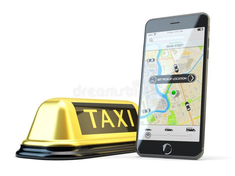Trans.nätverk app som kallar en taxi vid mobiltelefonbegrepp arkivfoto