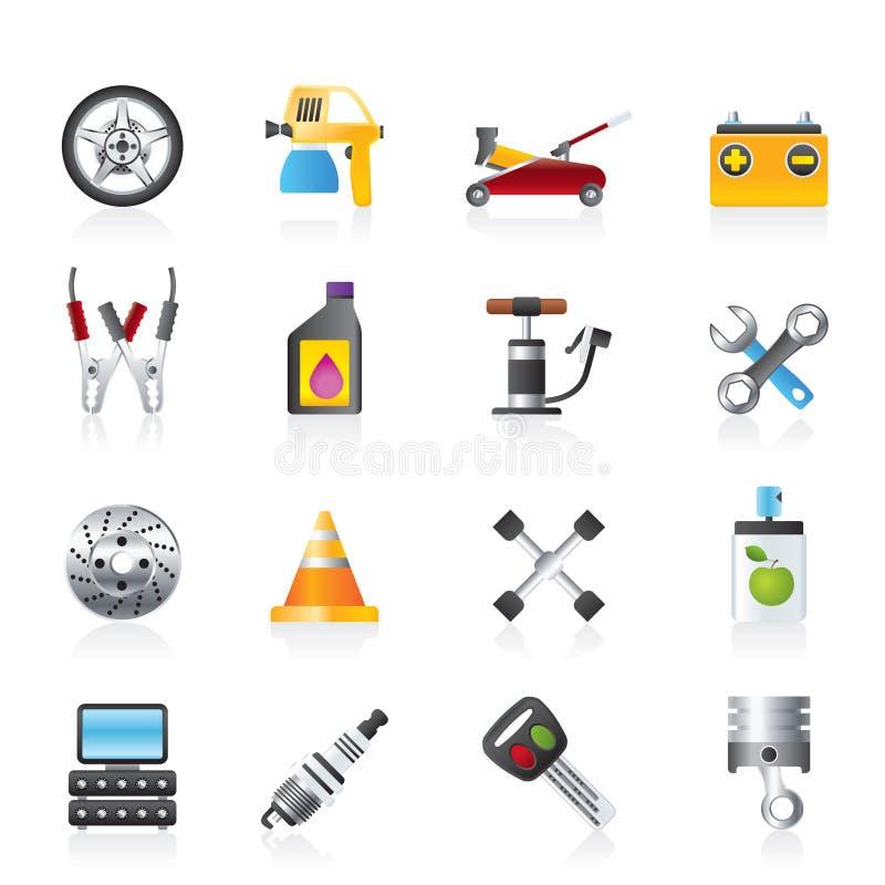 Trans.- och bilreparationssymboler stock illustrationer