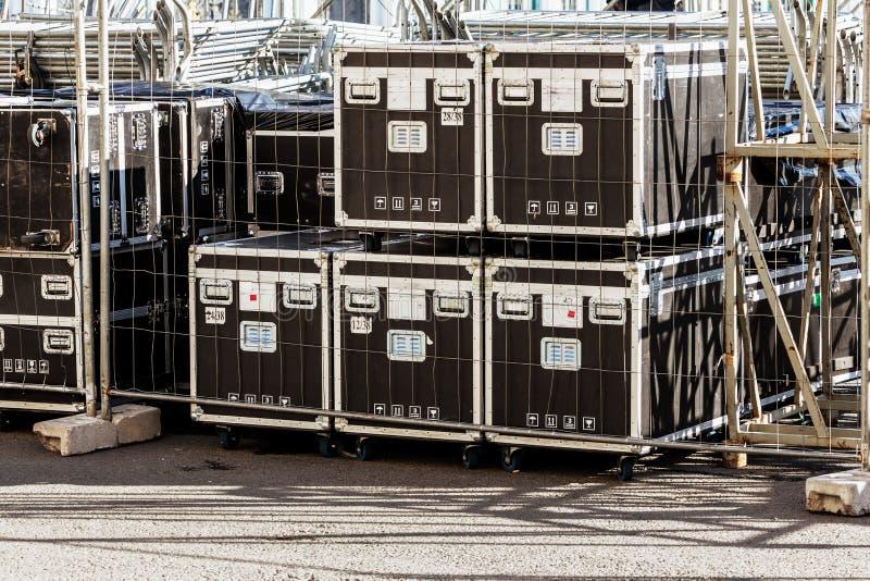 Trans. och lagring av konsertutrustning royaltyfria foton