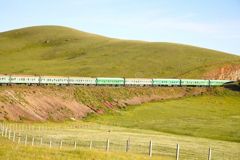 Trans.-Siberian järnväg från det beijing porslinet till ulaanbaatar Mongoliet royaltyfri bild