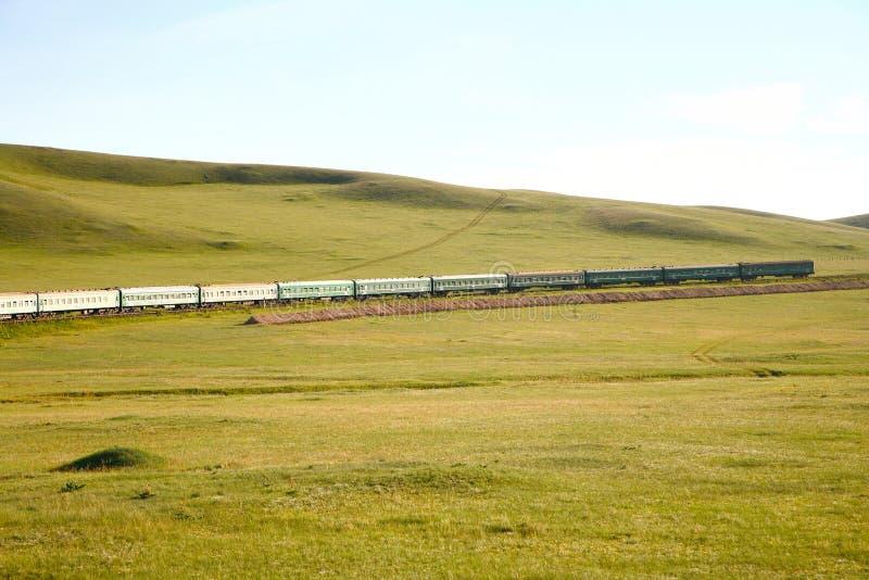 Trans.-Siberian järnväg från det beijing porslinet till ulaanbaatar Mongoliet arkivbild